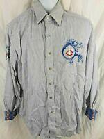 Minnesota Twins MLB Robert Graham Button Front Shirt Size Med Striped Flip Cuff