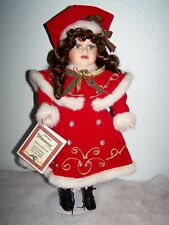 "18"" PORCELAIN Green Eyed Green Eyed VANESSA CHRISTMAS DOLL NRFB"