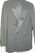 MEN'S 2 PIECE BLACK TUX SUIT - SIZE 32 TROUSER, SIZE 38 JACKET