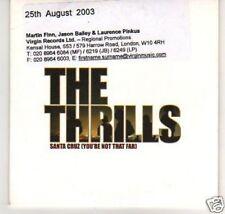 (B298) The Thrills, Santa Cruz - DJ CD