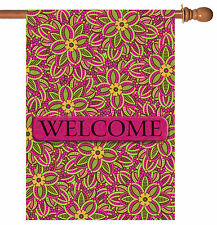 Toland Fuchsia Welcome 28 x 40 Cute Pink Flower House Flag