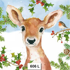 TWO (2) Paper Luncheon Napkins for Decoupage, CHRISTMAS, DEER, ANIMAL, DOE