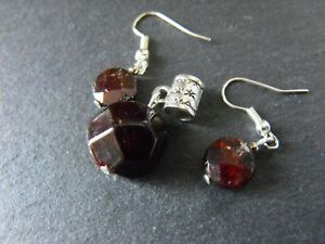 DRUZY faceted GARNET GEMSTONE PENDANT EARRINGS goth wicca silver plated
