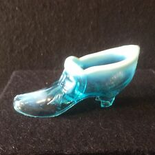 A Very Scarce Victorian Greener Blue Pearline Pressed Glass Shoe c1880 - #118c
