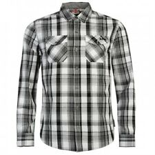 Lee Cooper Mens Long Sleeve Check Casual Shirt Size Small BNWT Grey/Black/White