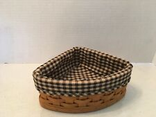 2005 Longaberger small corner basket with checkered cloth liner