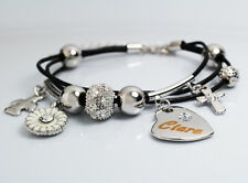 Genuine Braided Leather Charm Bracelet With Name - CIARA - Gifts for her