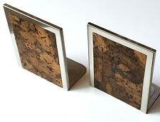 """2 brushed stainless steel and cork bookends  5-9/16"""" x 4-5/8"""" x 1/4"""" vintage"""
