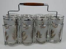 Set of 8 Vintage Highball Glasses Frosted Silver Leaf Design with Carrier