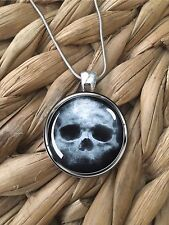 Skull Creepy Face Halloween Glass Pendant Silver Chain Necklace NEW