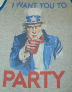 Uncle Sam I want you to party Small Tank Top red cup drinking