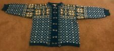 Womens Dirdalstrikk Norwegian Wool Vintage Cardigan, 80s, Size 46 M