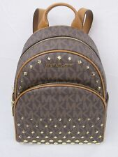 NWT MICHAEL KORS ABBEY MEDIUM STUDDED BACKPACK PVC MK SIGNATURE BROWN ACORN