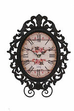 Shabby French Chic Vintage Rose Pink Metal Filigree Wall Clock Gift