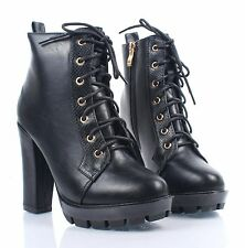 """Black Faux Leather Combat Military Chunky 4.5"""" High Heel Womens Mid-Calf Boots"""
