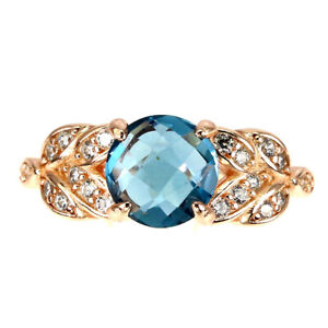 Round London Blue Topaz 8mm Cz 14K Rose Gold Plate 925 Sterling Silver Ring 5.5