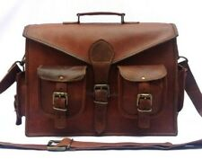 Trendy Vintage Leather Messenger Crossbody Laptop Briefcase Satchel Bag Handmade