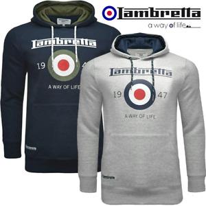 Mens Lambretta Target Logo Hoodie Fleece Jumper Hooded Sweatshirt Top Size BNWT