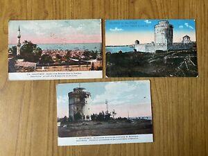 LOTTO 3 CARTOLINE SALONICA TORRE BIANCA MOSCHEA 1919 22
