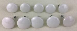 White Porcelain Drawer Pulls Door Handle Cabinet Knobs 10pc Lot Hardware Japan