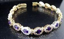 Turkish Handmade 925 Sterling Silver Amethyst Authentic Ladies Womans Bracelet76