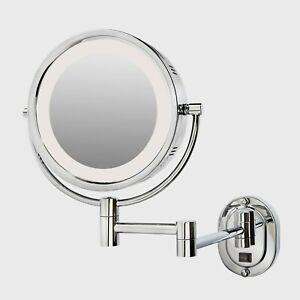 Jerdon Lighted Wall Makeup Mirror Magnifying Anti Fog Bath 10 X 14 Inch Chrome