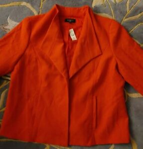 NEW TALBOTS 18W Unstructured Red Blazer ARV $189 Flirty Peplum Back