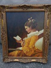 Altes Ölgemälde, Frau mit Buch, Holzrahmen, Leinwand, Signirt