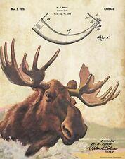 Moose Hunting Game Call Patent Art Print Vintage Cabin Decor Deer Antlers PAT468