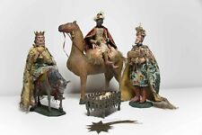 gr.Barock Holz Krippenfiguren Heilige 3 Könige m. Kamel Christkind Allgäu ~1800
