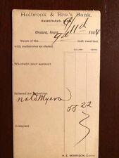 "Antique postcard ""Holbrook & Bro.s Bank"" Onawa, Iowa 1884"