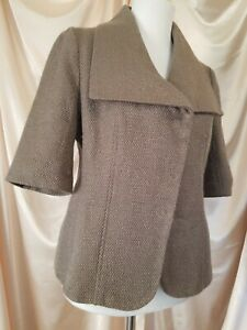 Ann Taylor Womens Sz 4 Light Brown Snap Up Acrylic Suit Jacket