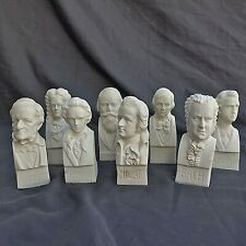 The Immortals RA Carved Alabaster Bust Composer's Mozart Bach Beethoven Lot (8)