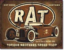 Blechschild Rat Hot Rod Oldtimer Auto Werkstatt Reklame Rockebilly 30 x 40 cm