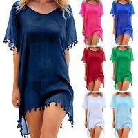 Women Beachwear Swimwear Bikini Beach Wear Cover Up Tassel Summer Short Dress SH