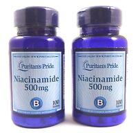 2X Niacinamide 500 mg 100 Tablets Nicotinamide Vitamin B-3