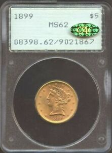 """1899 $5 Liberty Gold, PCGS MS62 OLD """"RATTLER"""" & GOLD CAC!"""
