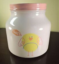 Large White Painted Chicken Jar Sweet Tweet Chick Canister with Pink Lid