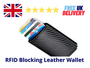 New RFID Blocking Genuine Leather Credit Card Holder Money Notes Clip Wallet UK