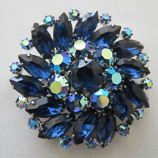 Vintage Jewelry Weiss Blue Icy Rhinestone Brooch Pin Signed #33