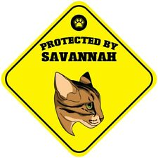 Yellow Aluminum Crossing Sign Protected by Savannah Cat Cross Xing