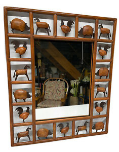 Rustic/Farmhouse/Country Style Handcrafted Wooden & Metal Mirror W/Farm Animals