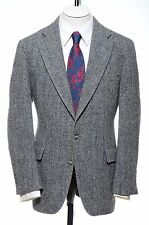42R Vtg Blue Gray Herringbone Size L HARRIS TWEED Wool Sport Coat Blazer Jacket