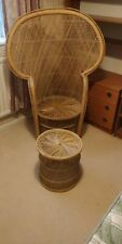 Large Peacock Wicker Chair Vintage High Back with matching Foot Stool