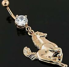NEW TWIN HORSE HEAD EQUINE HORSES ON DBL CLEAR CZ BANANA BAR BELLY BUTTON RING