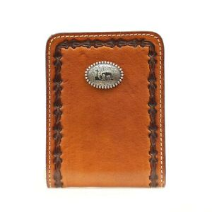Front Pocket ~SLIM WALLET~ Clip-Silver Cowboy Prayer Concho-Leather N5410802 18