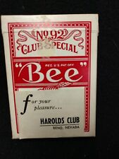 Vintage Bee No. 92 Club Special Playing Cards From Harolds Club Reno Nevada