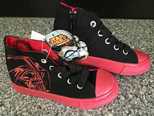 BNWT Little Boys Sz 10 Black/Red Star Wars Darth Vader Logo Print High Top Boots