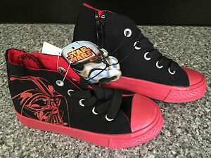 BNWT Little Boys Sz 10 Black Red Star Wars Darth Vader Logo Print High Top Boots