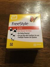 Freestyle Lite Diabetic Test Strips 50 Count Box New Never Opened Exp 01/2020
